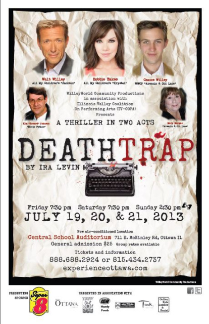 "Walt Willey, Bobbie Eakes and Chance Willey in the LIVE performance of ""DeathTrap""  July 2013 in Ottawa, IL"